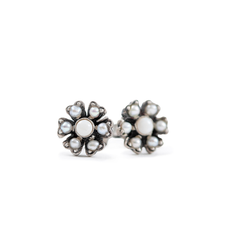 Silver Flower Stud with Pearl and Opal