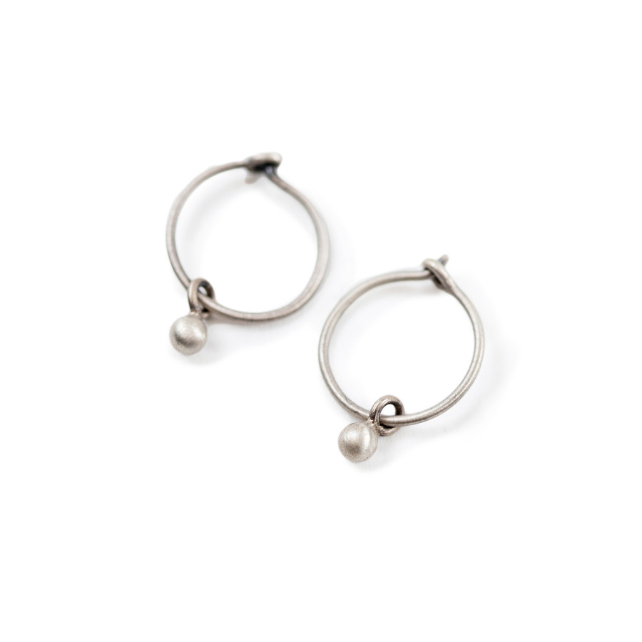 Small Silver Hoop Earrings with Ball
