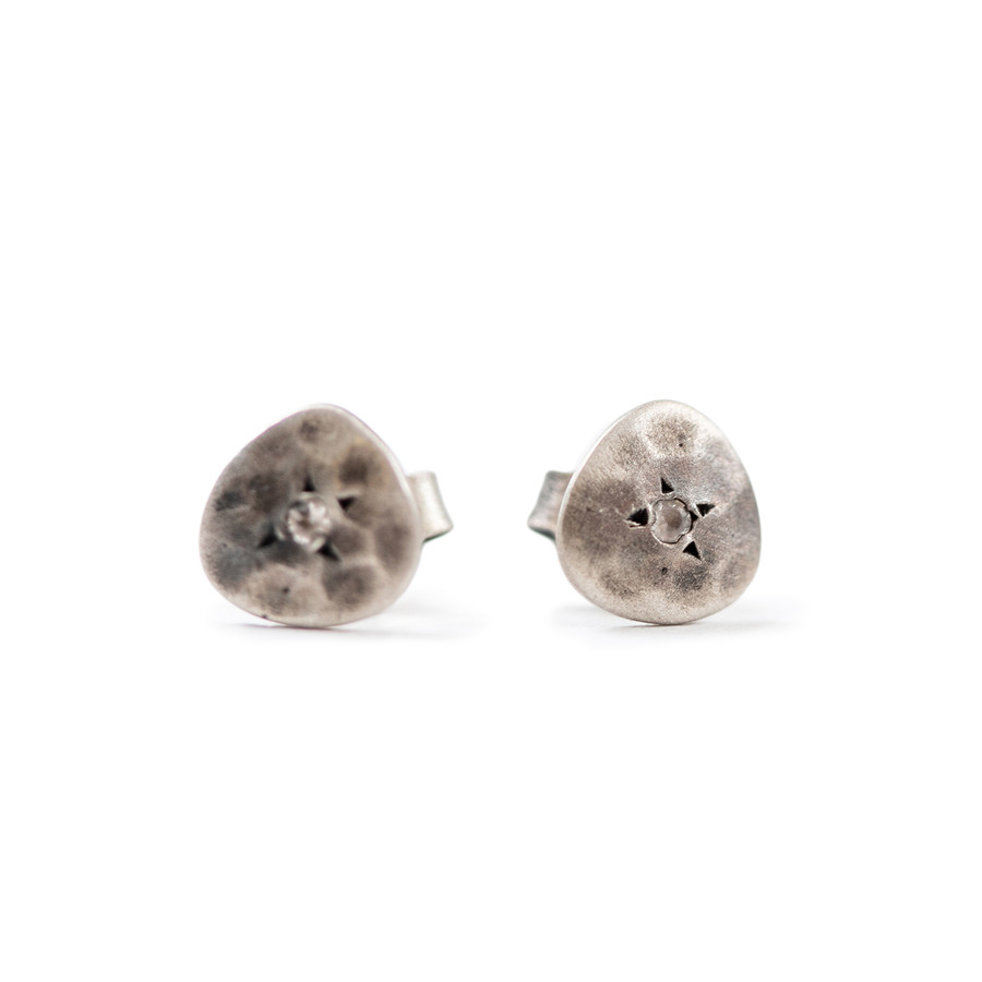 Flat Stud Earring with Small Center Stone