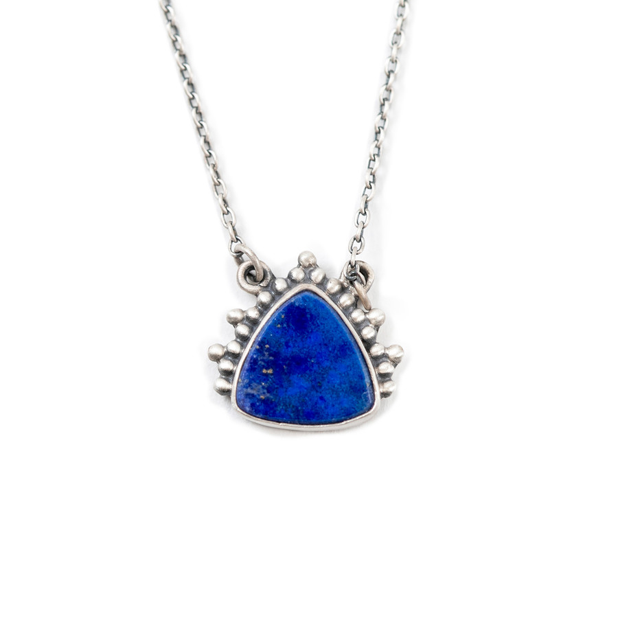 Silver Necklace with Triangle Lapis Pendant