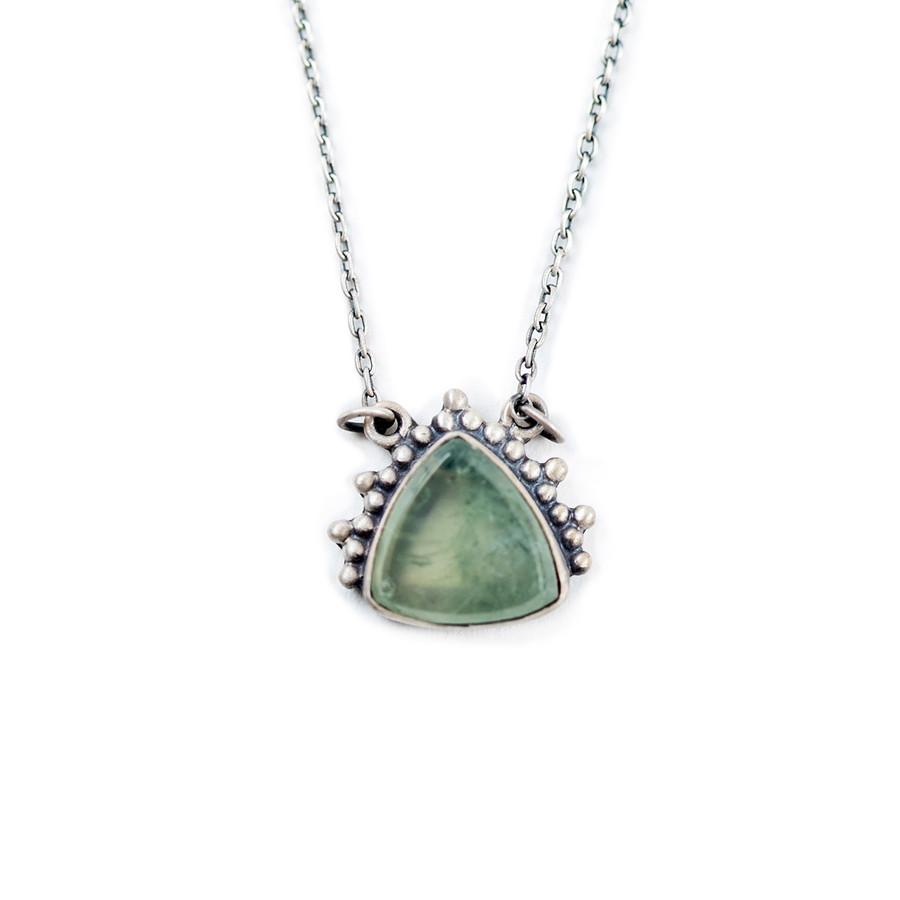 Silver Necklace with Triangle Prehnite Pendant