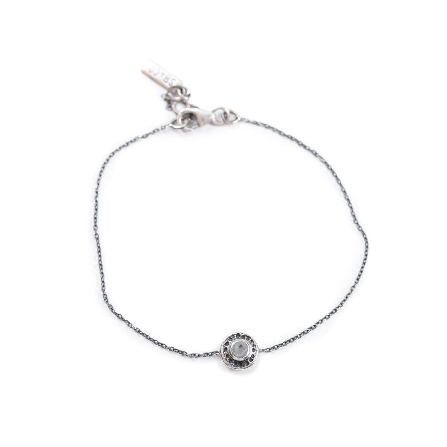 Rainbow Moonstone Cut Pendant Bracelet on Sterling Silver Chain