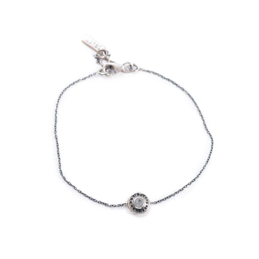 Rainbow Moonstone Cut Pendant Bracelet on Sterling Silver Chain