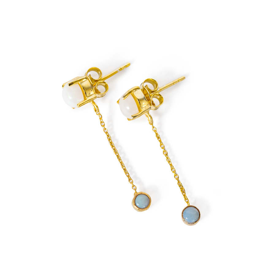 Gold Plated Stud Earring with Dangle