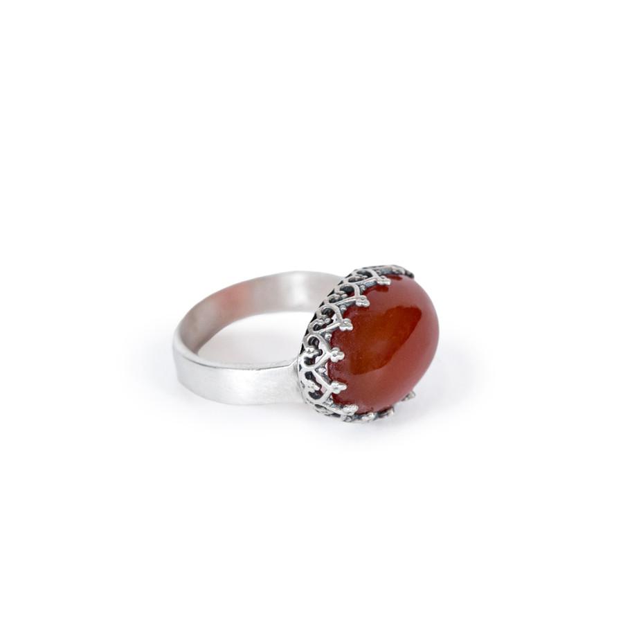Cardinal Stone Ring Oxidized Silver