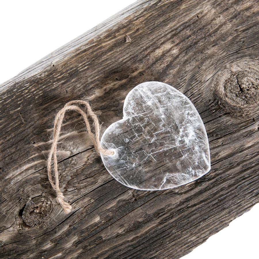 Hanging Selenite Heart on Jute