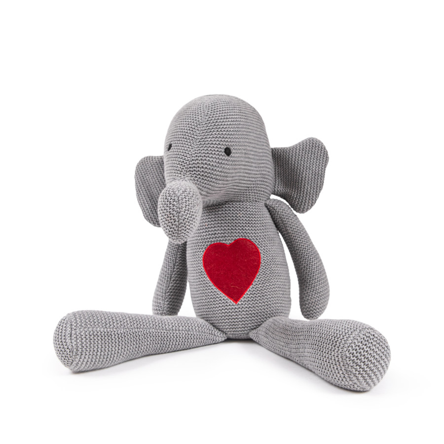 Woven Stuffed Elephant with Red Heart Patch