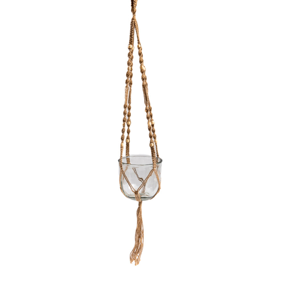 Macrame Hanging Planter with Glass Flower Pot