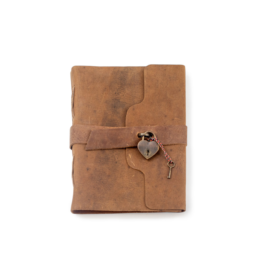 Leather Journal with Heart Lock and Key