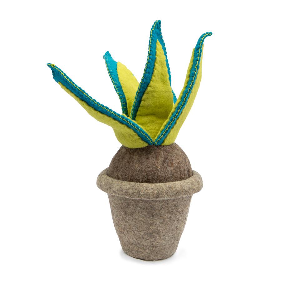 green and blue felt snake plant
