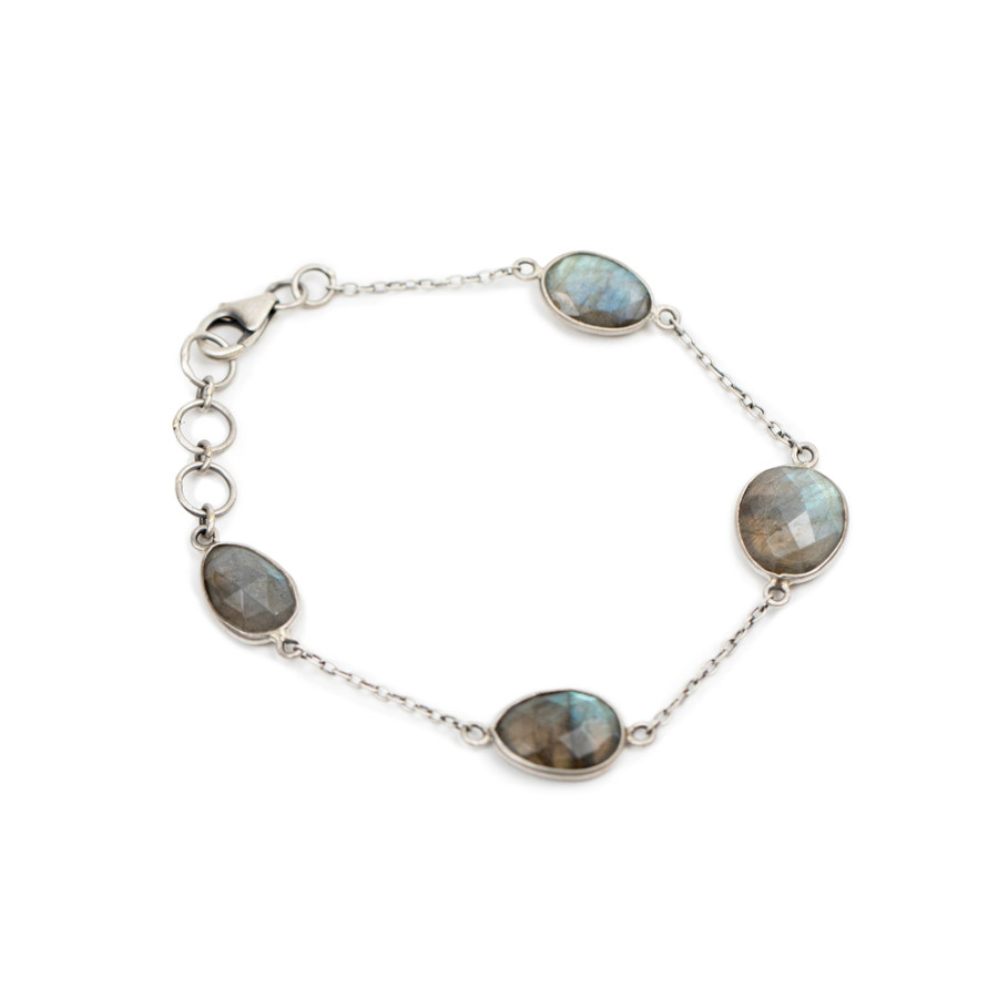 Labradorite Oxidized Silver Bracelet