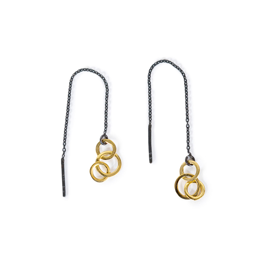 Black Threader Earring with Gold Plated Circles