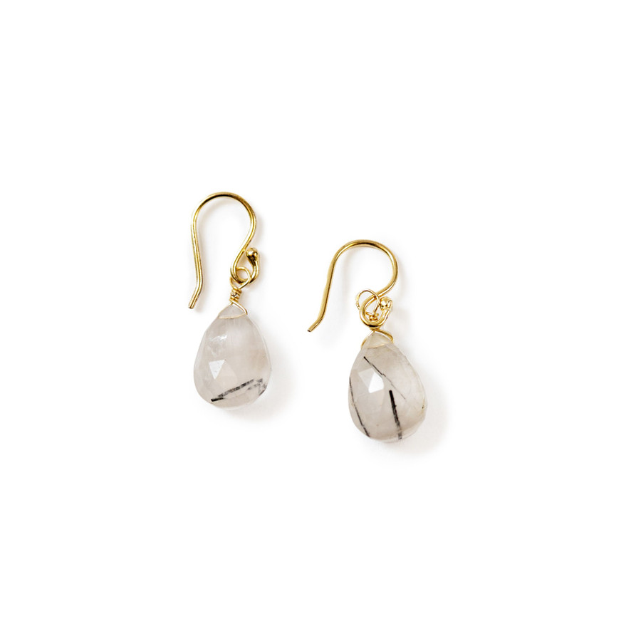 Gold Plated Black Rutilated Quartz Earrings