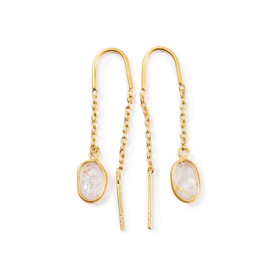 Gold Plated Single White Topaz Threader Earring