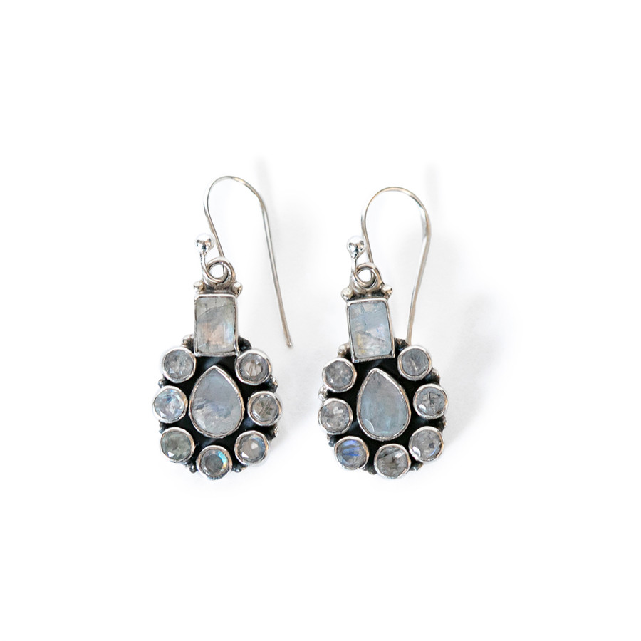 Silver Plated Earrings with Moonstone Design