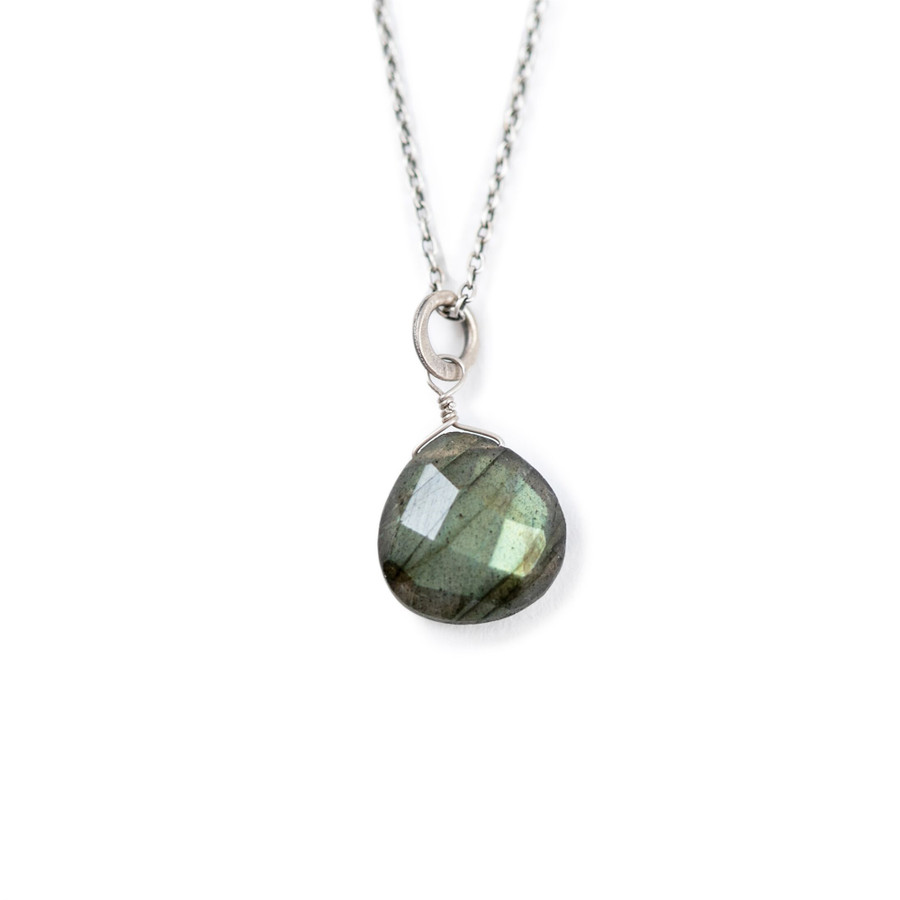 Single Stone Oxidized Necklace in Labradorite