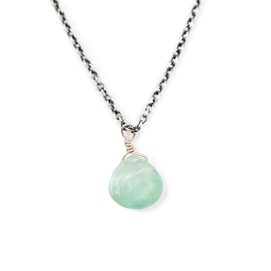 Single Stone Oxidized Necklace in Prehnite
