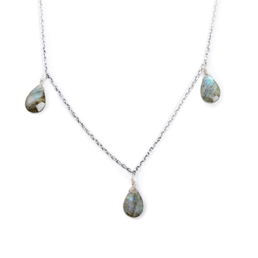 Three Stone Labradorite Necklace