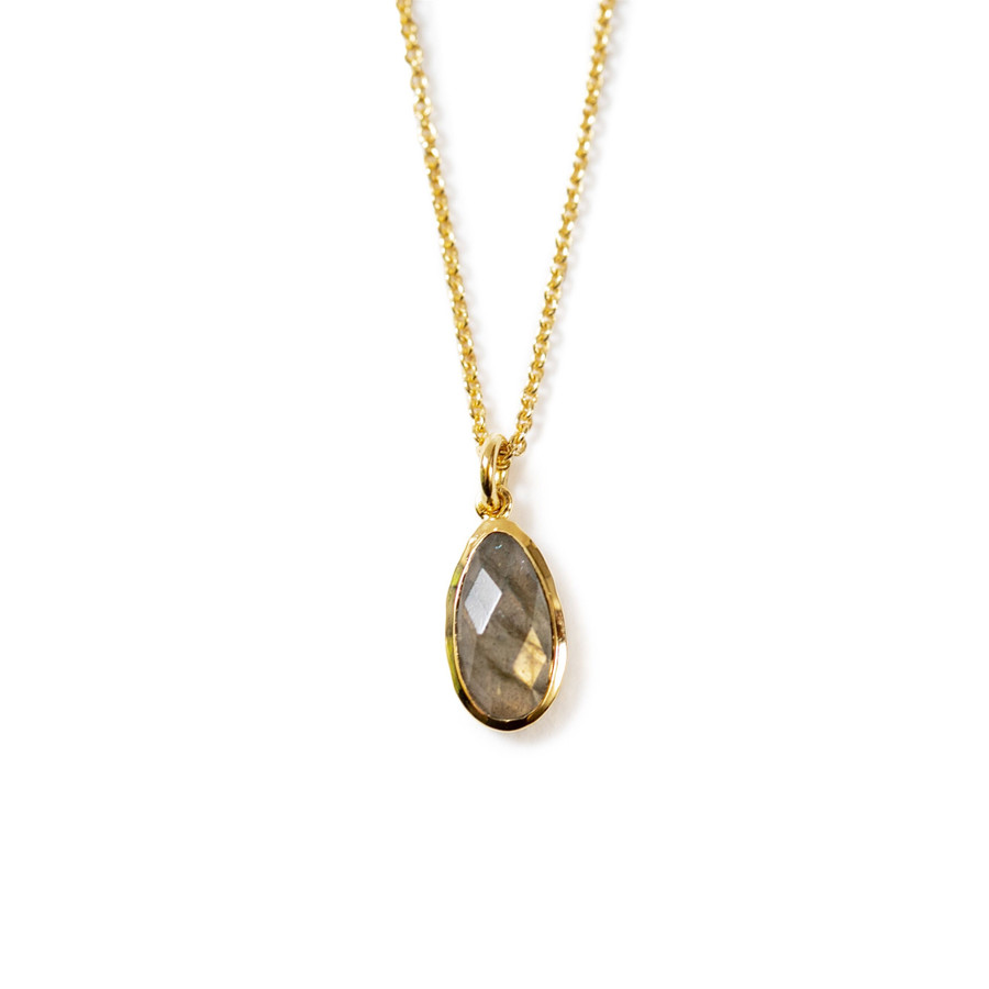 Gold Plated Necklace with Labradorite Stone