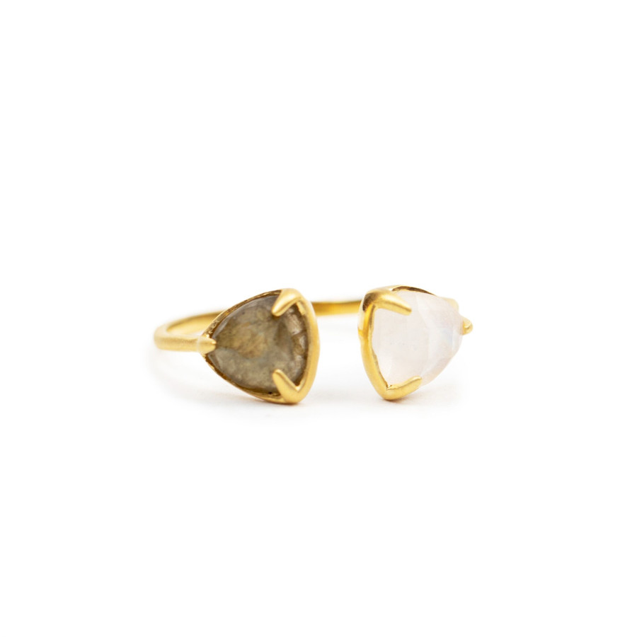 Yellow Gold Plated Ring with Labradorite and Rainbow Moonstone