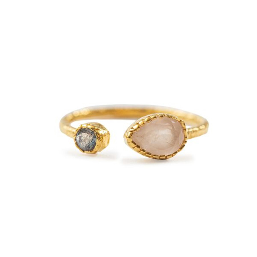 Rose Quartz and Labradorite Open Ring