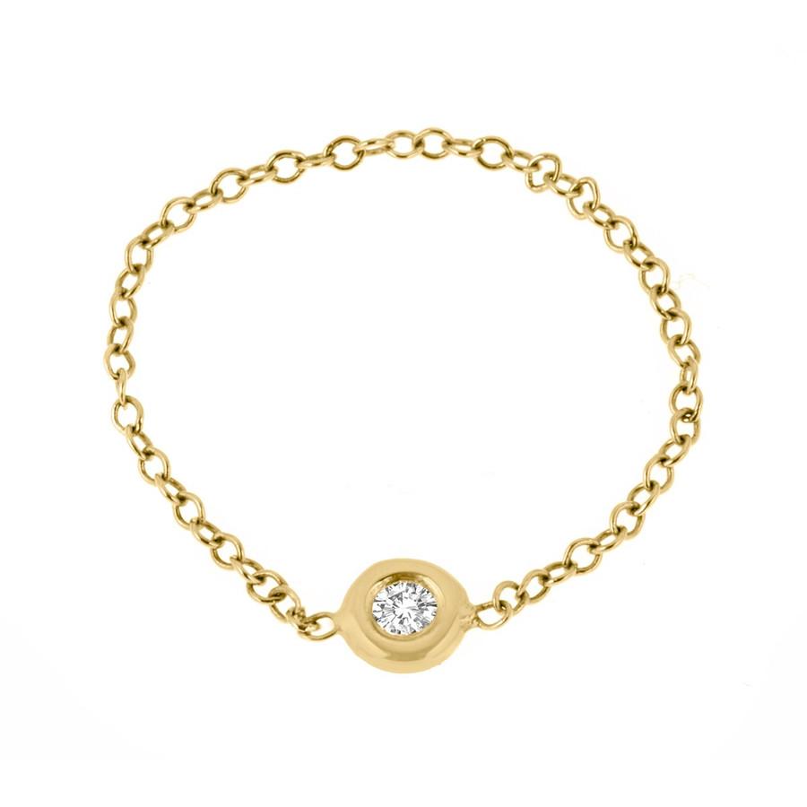 Bezel chain diamond ring in 14k yellow gold