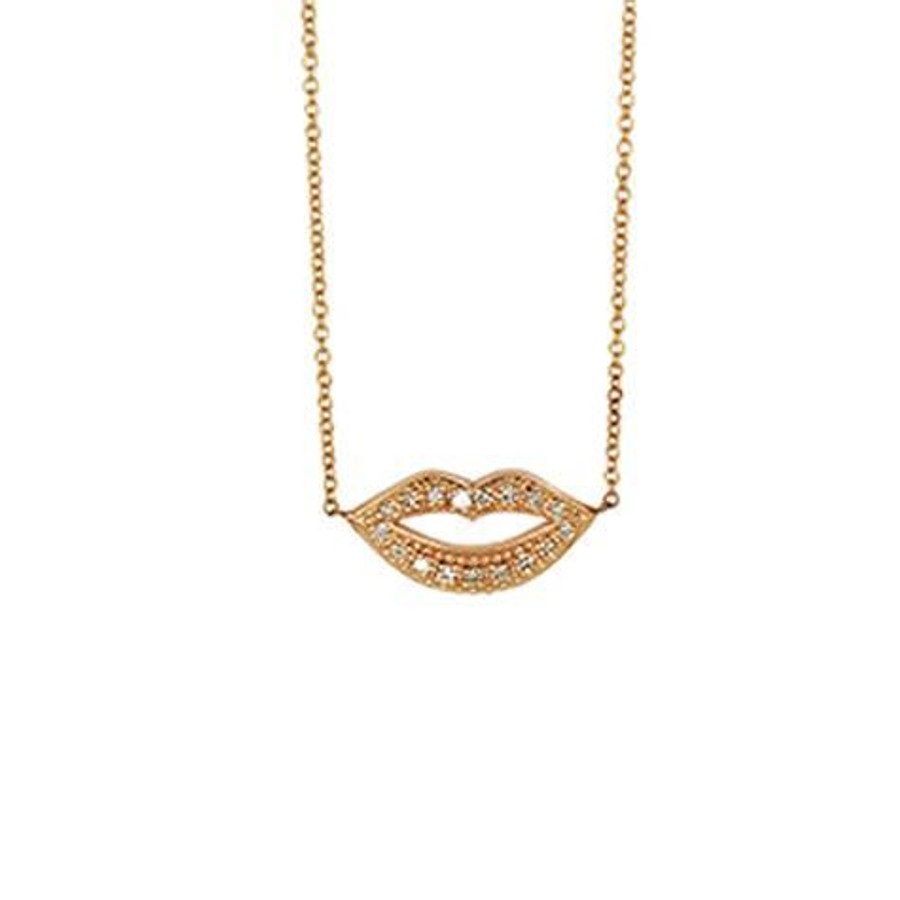 14k yellow gold lips necklace