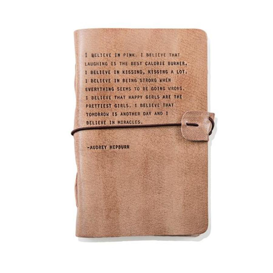 audrey hepburn blush leather journal