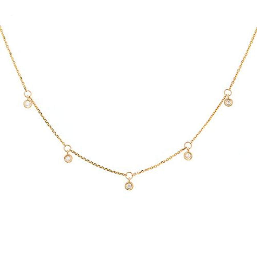 14k diamond bezel drop necklace