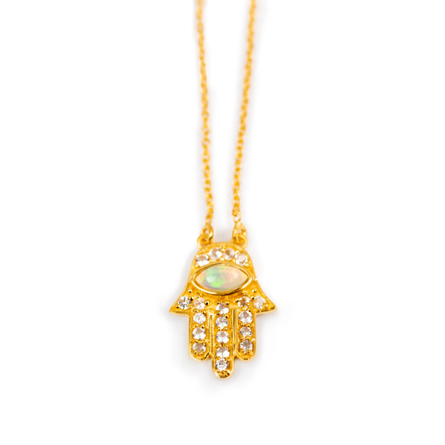 Gold Hamsa Hand Necklace with Opal