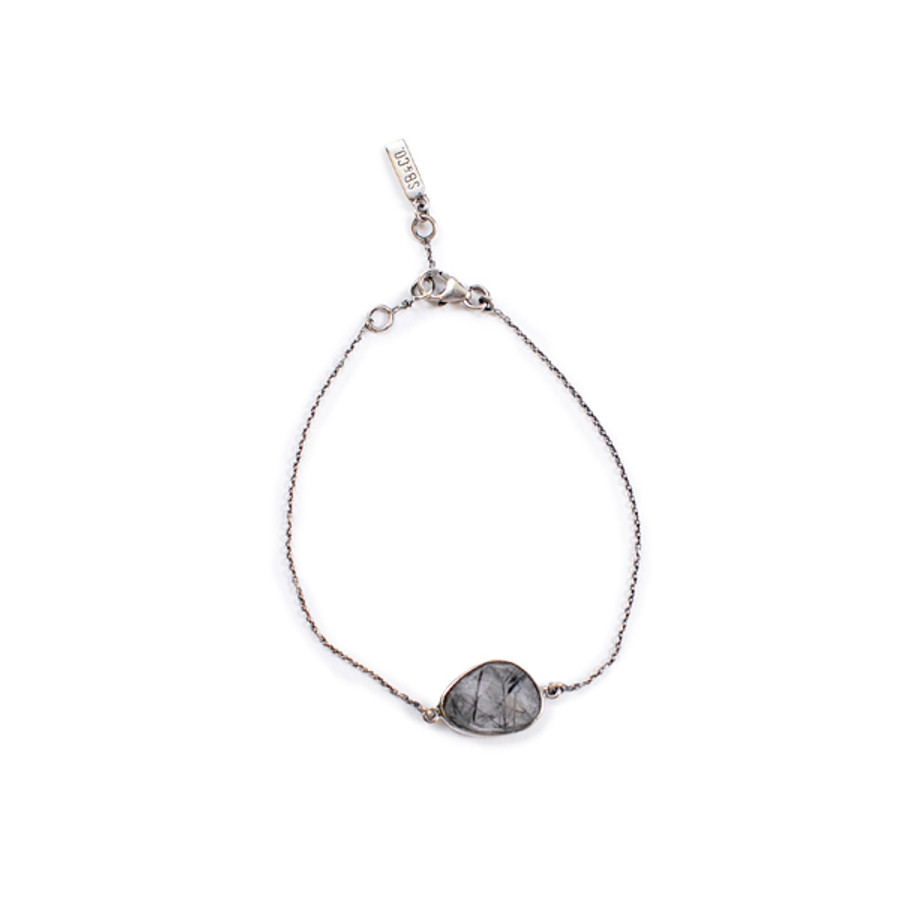 Black Rutile Checker Quartz Bracelet - Sterling Silver