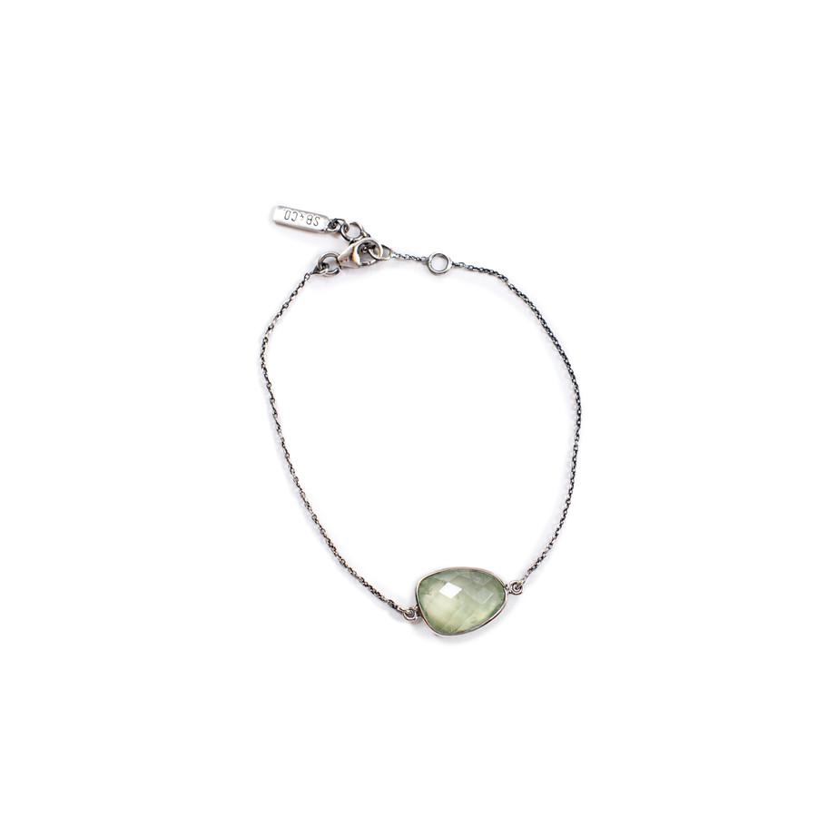 Prehnite Checker Stone Bracelet - Sterling Silver