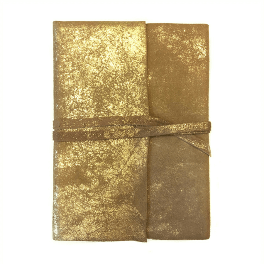 leather gold foiled wrap journal