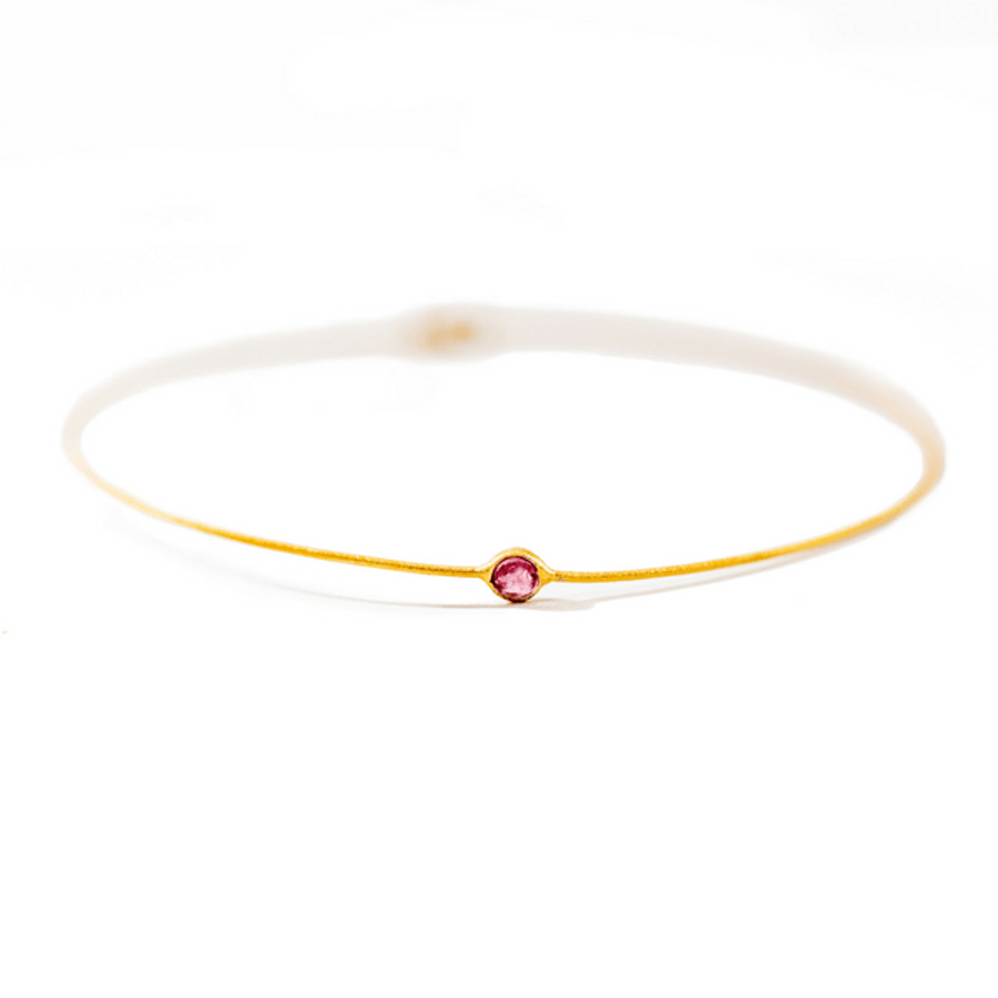 22k Gold Plated Sterling Silver Bangle Bracelet with Small Tourmaline