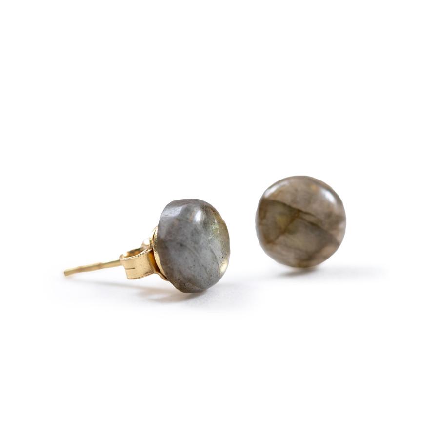 Round Labradorite Gold Stud Earrings