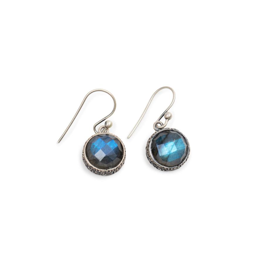 Round Labradorite Drop Earrings
