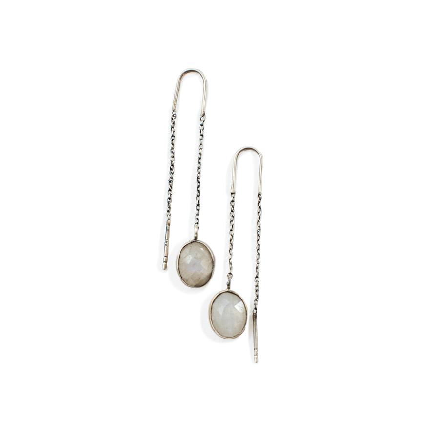 Oxidized Moonstone Earrings