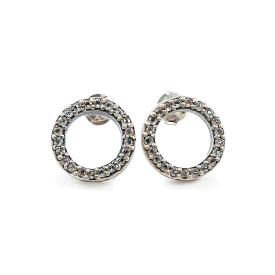 Circle Stud with Pave Stone Earrings