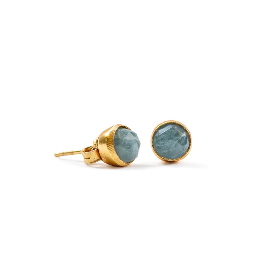 Aquamarine Gold Stud Earrings