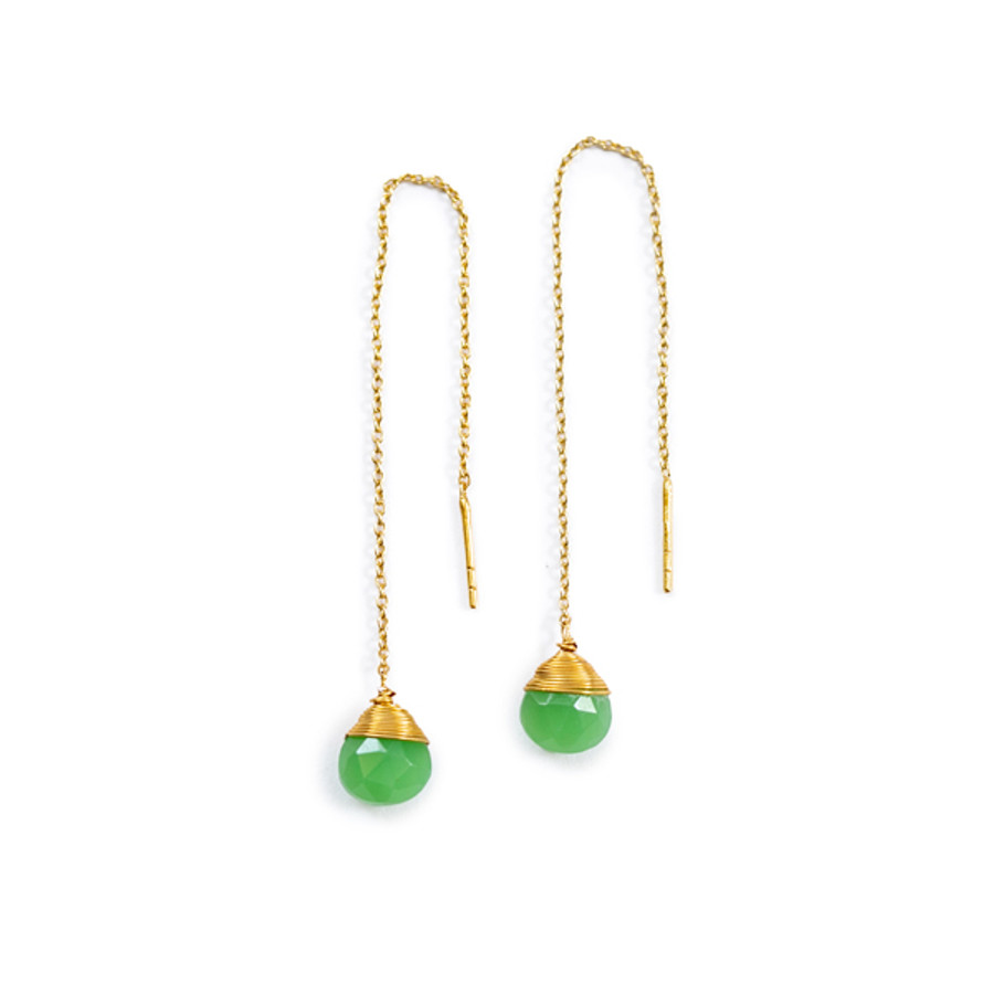 Chrysoprase Pull Through Gold Wire Earrings