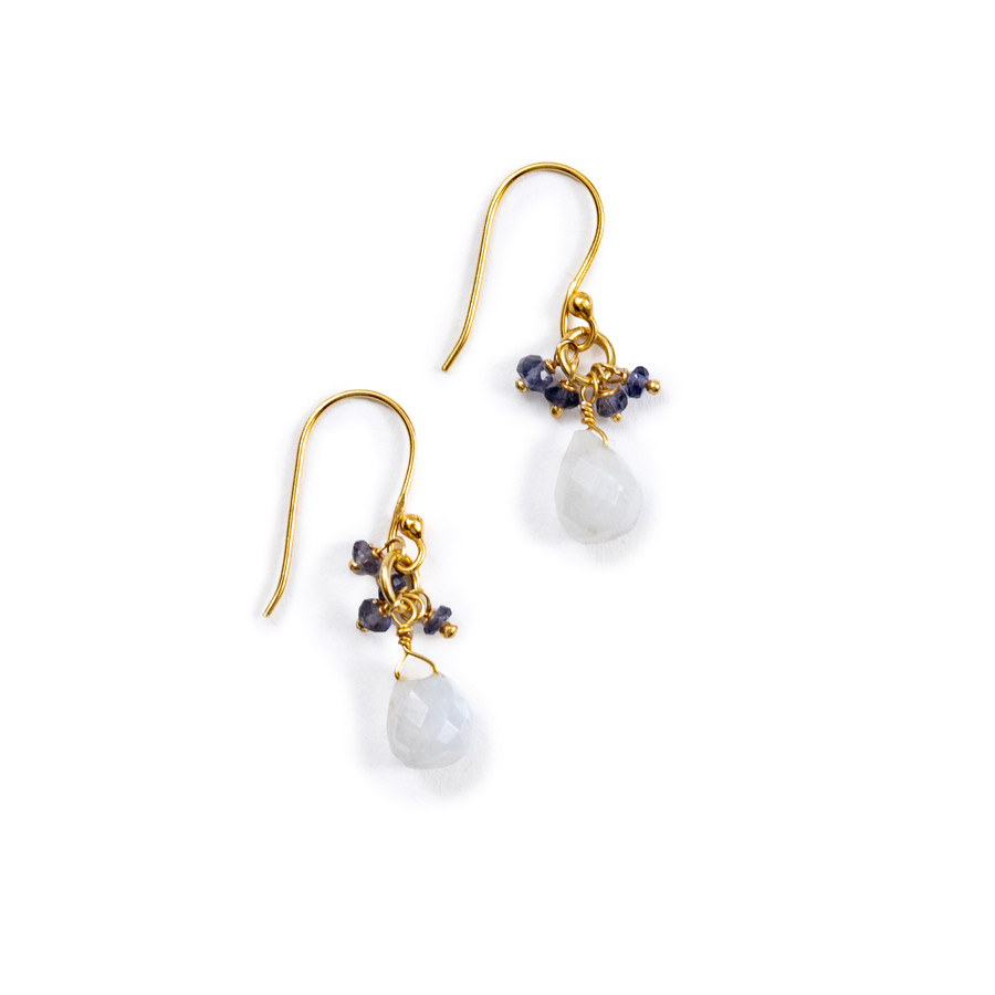 Iolite and Moonstone Gold Earrings