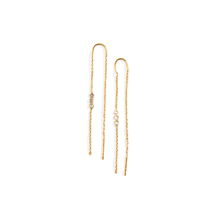 Gold Threader Earrings with CZ