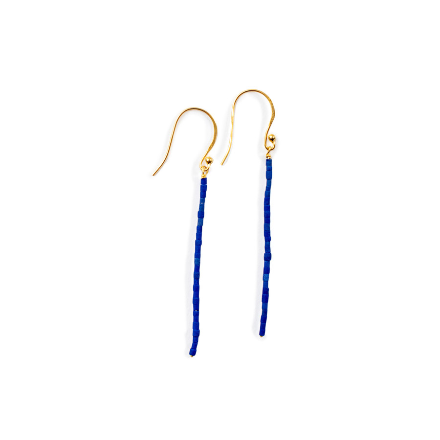 Beaded Linear Earrings - Gold Shiny - Lapis