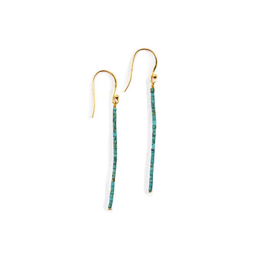 Beaded Linear Earrings - Gold Shiny - Turquoise