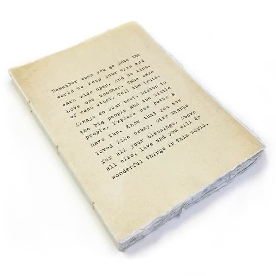 large deckle edge notebook - remember when you go