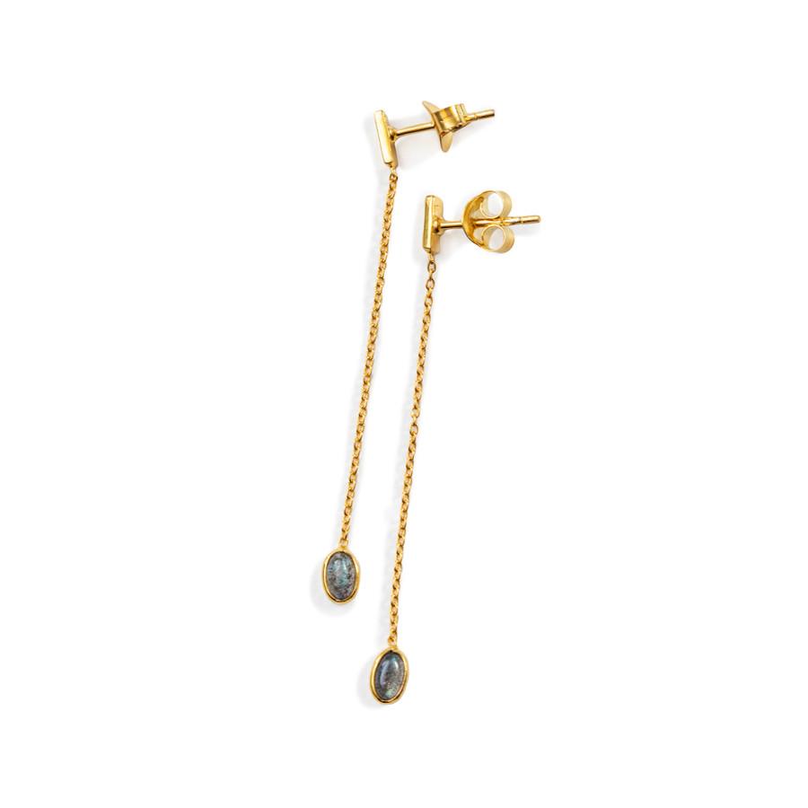 Gold Drop Earrings - Labradorite