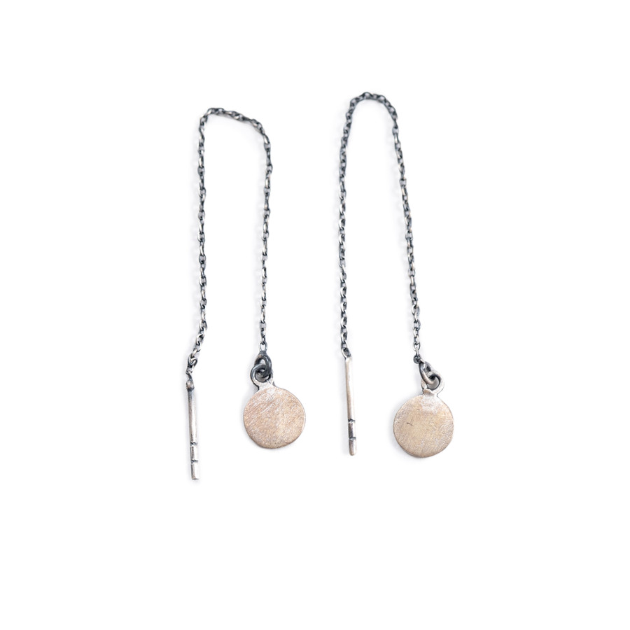 Sterling Silver Coin Pull Through Earrings