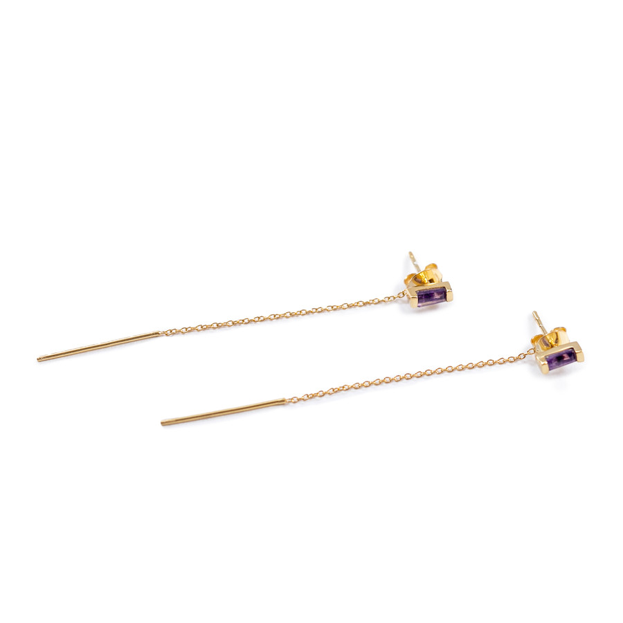 Amethyst Rectangle Earrings with Chain