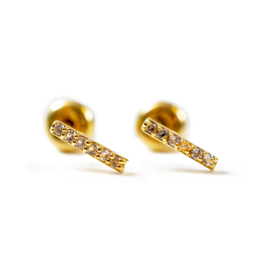 Gold Plated Stud Earrings with White Topaz Line
