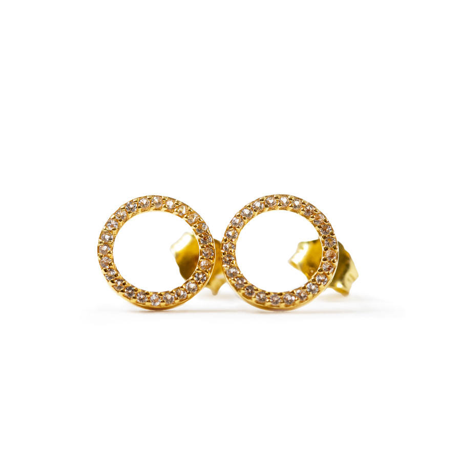 Gold Plated Stud Earrings with White Topaz Circle